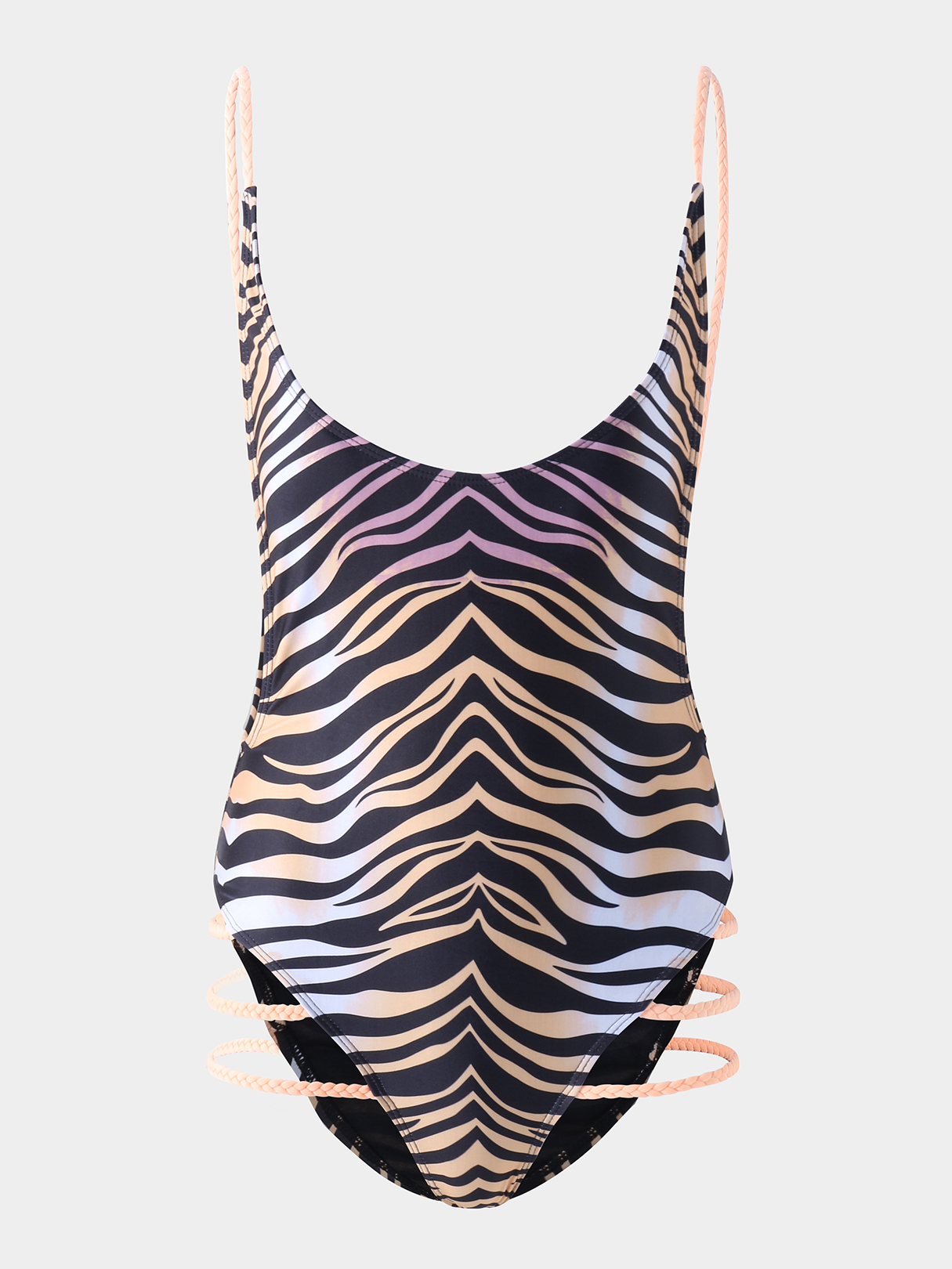 Leopard Pattern Backless Round Neck Sexy Swimsuit