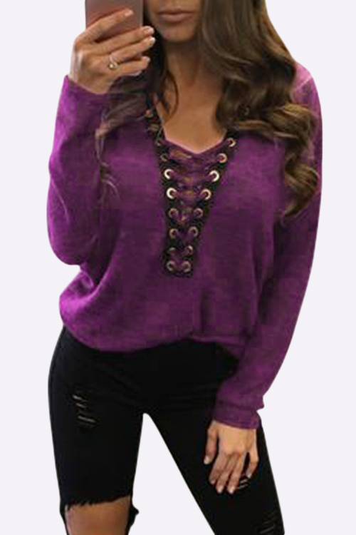 Sexy Deep V-neck Lace-up Front Casual T-shirts in Fuchsia, Multi