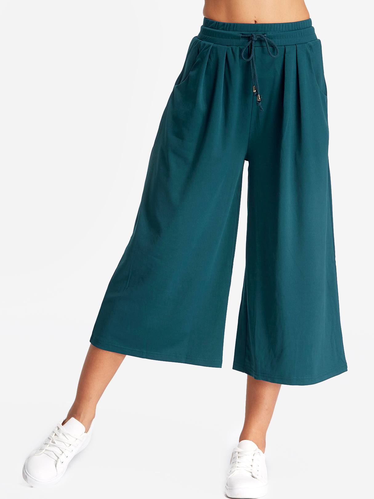 Green Pleated Design  Wide-legged Trousers
