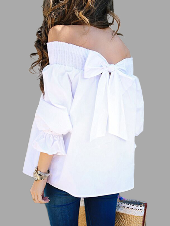 White Bow Tie Back Off The Shoulder 3/4 Length Sleeves Blouses