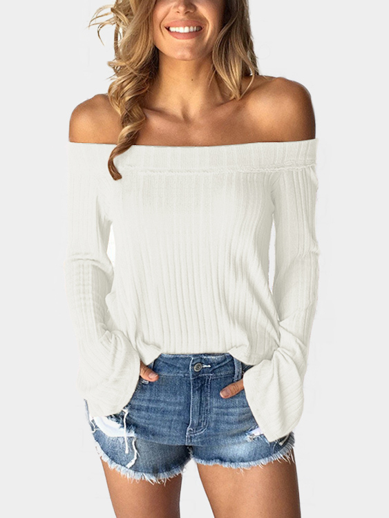 White Off The Shoulder Bell Sleeves Sweater