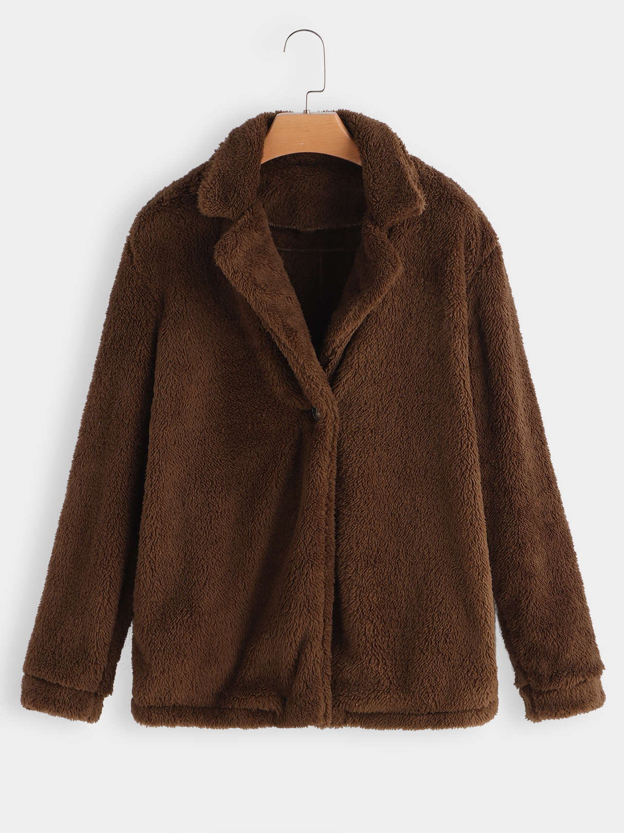 Brown Lapel Collar Long Sleeves Faux Fur Coat