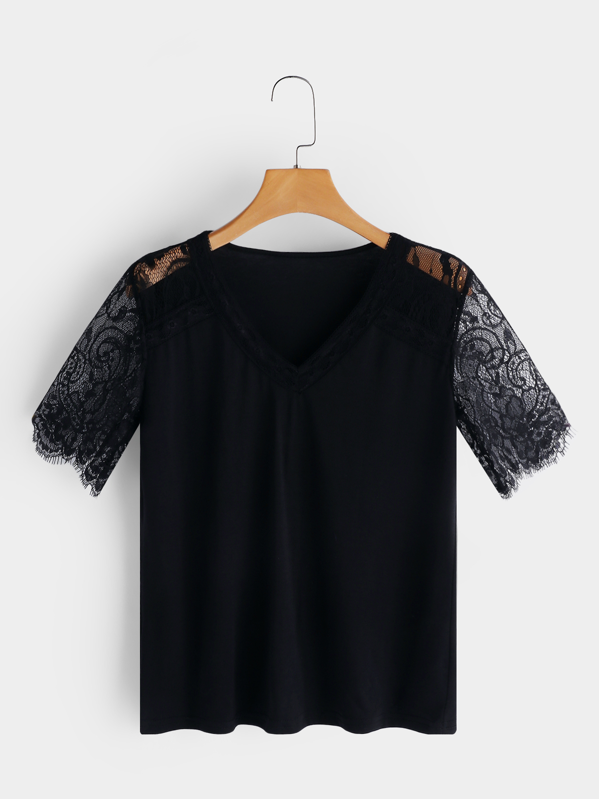 Black Lace Insert V-neck Short Sleeves Top