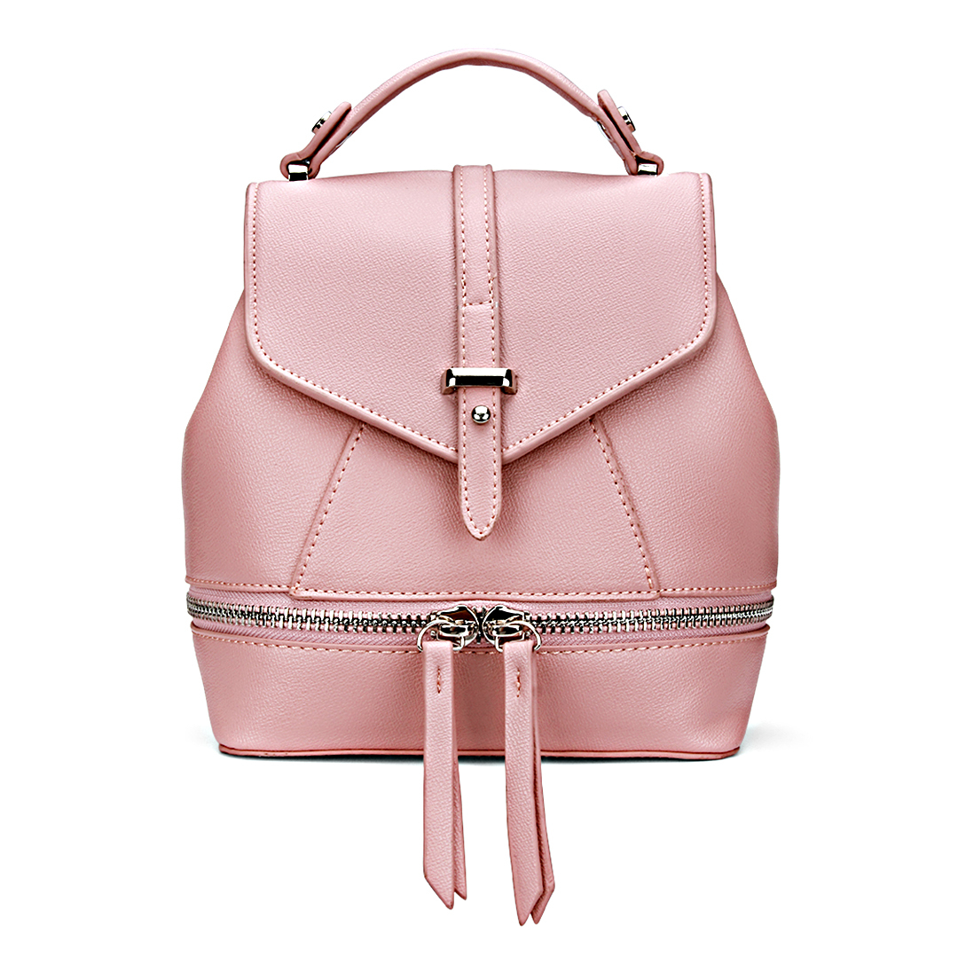 Leather-Look Mini Backpack in All Pink