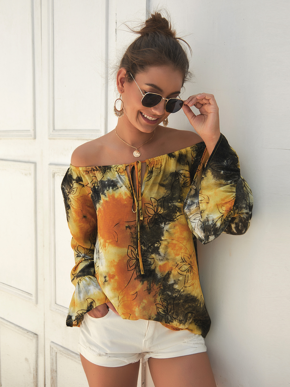 Yellow Tie-dye Off The Shoulder Long Sleeves Blouse