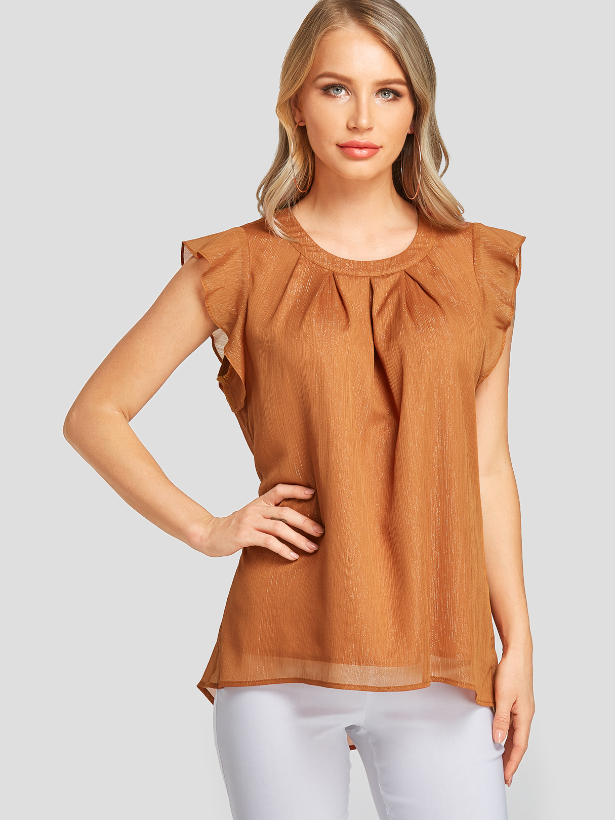 Coffee Pleated Ruffle Sleeves Round Neck Tank Top