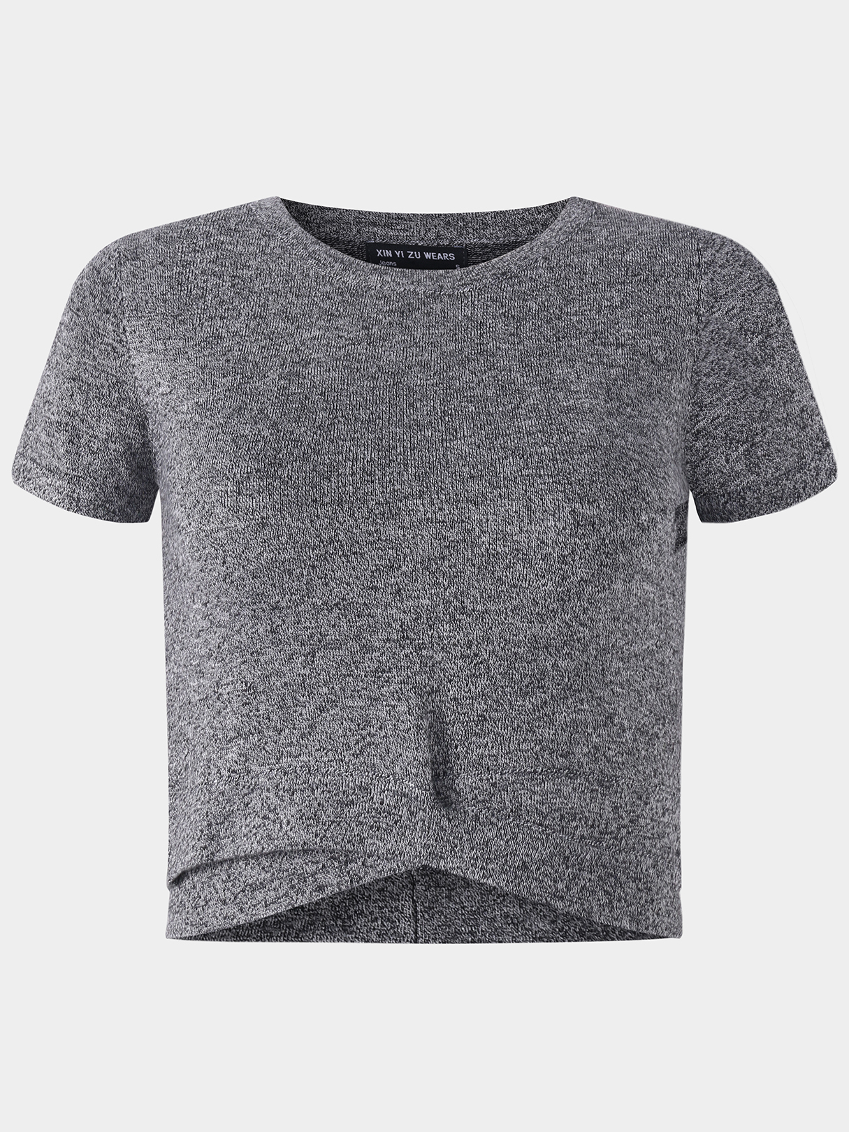 Active Round Neck Cut Out T-shrits in Grey