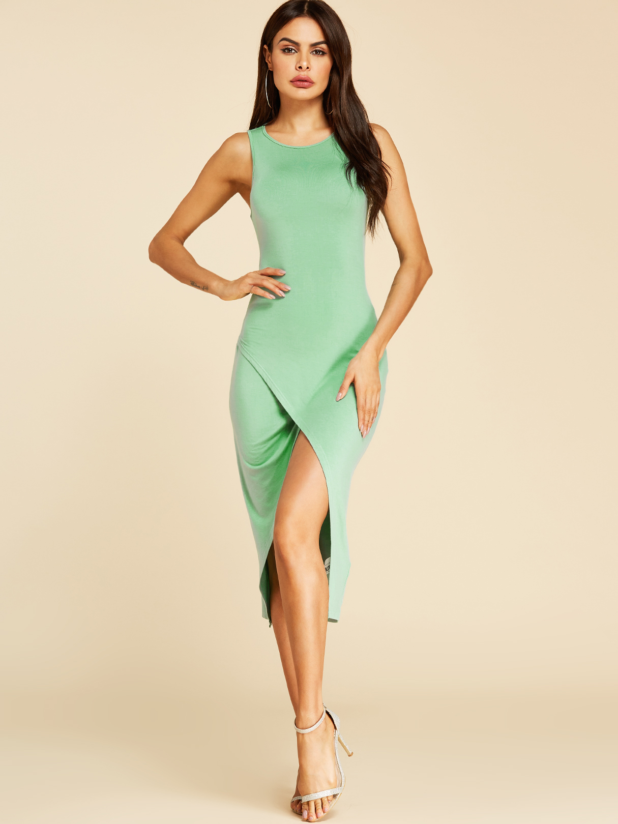 Green Cut Out Round Neck Sleeveless Dress, Green;pastel
