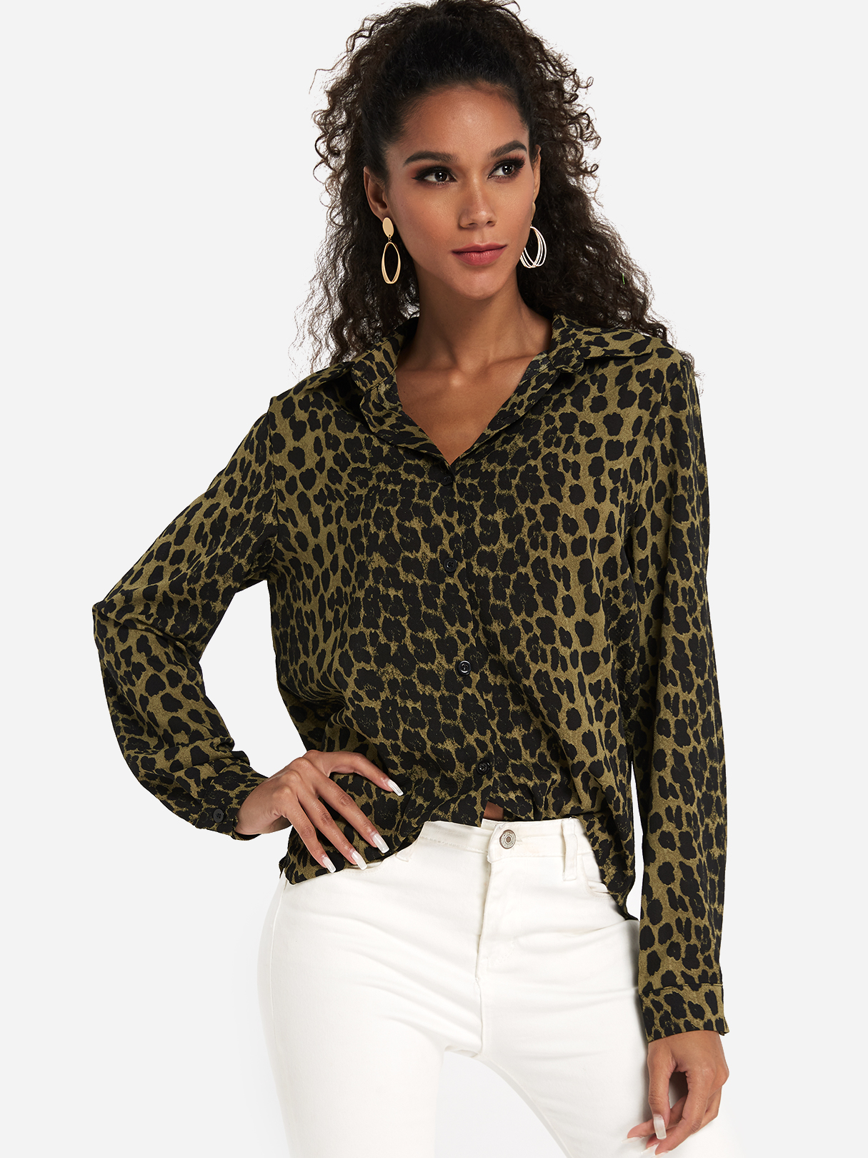 Green Single Breasted Design Leopard Classic Collar Long Sleeves Shirt