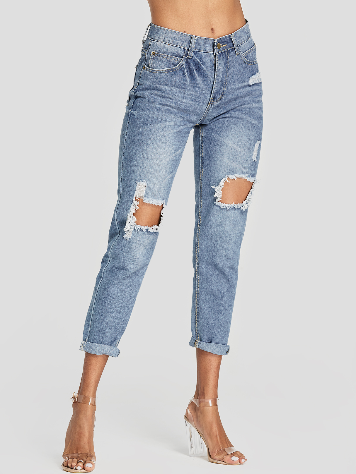 Blue Random Ripped Details Middle-Waisted Jeans