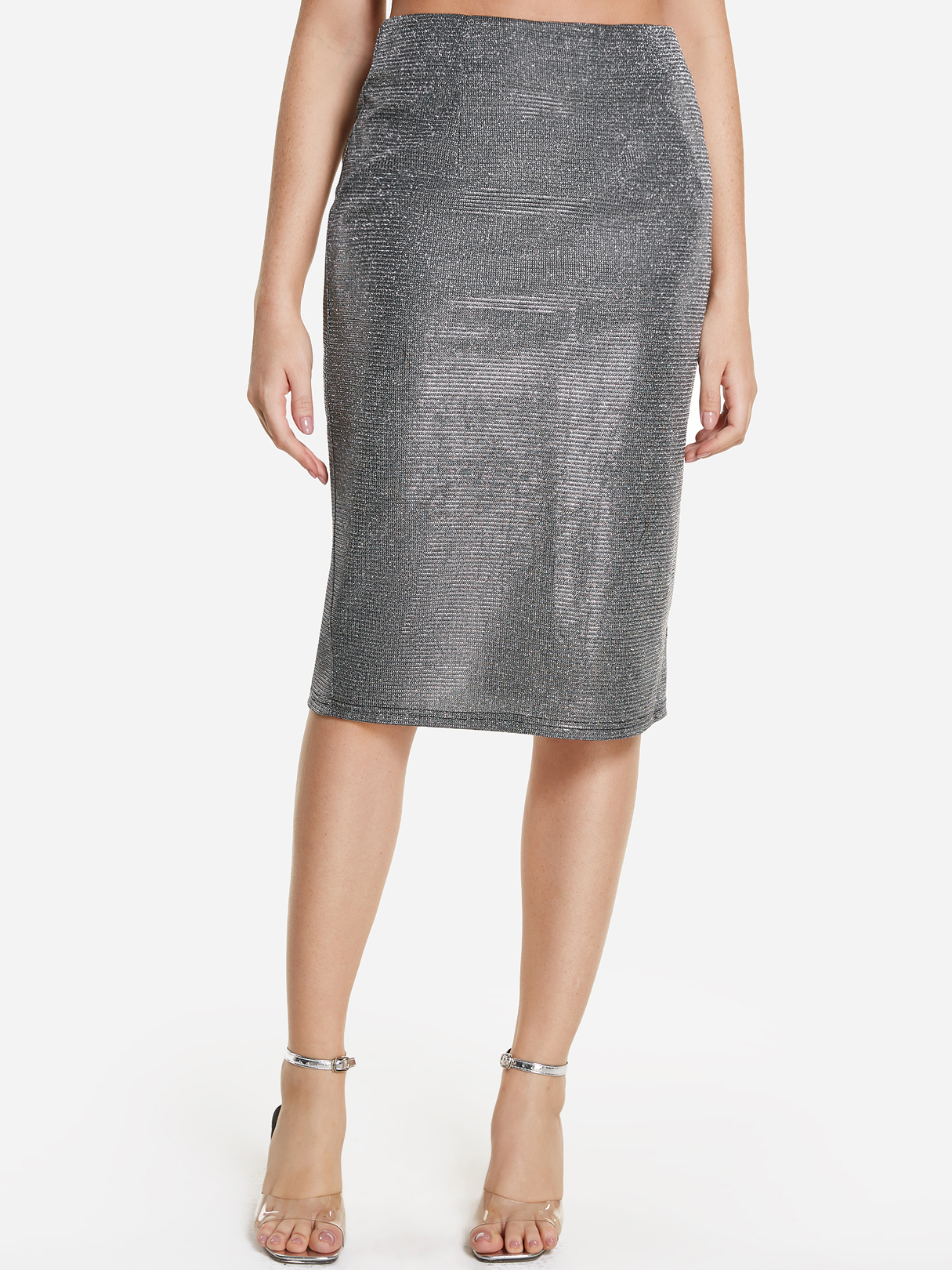 Silver High-waisted Slit Hem Metallic Skirt