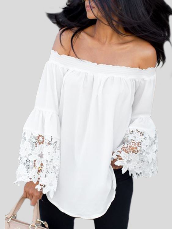 White Lace Insert Off Shoulder Flared Sleeves Blouse