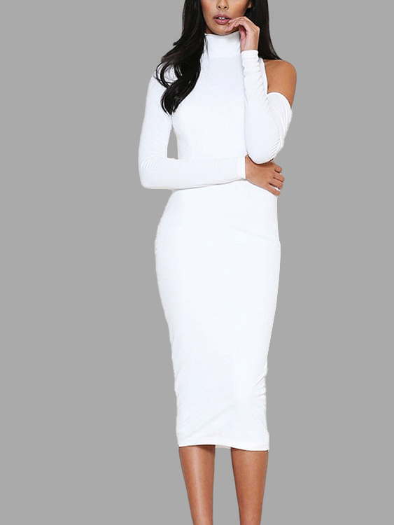 White Bodycon Long Sleeves Open Back Midi Dress with Cut Out Details