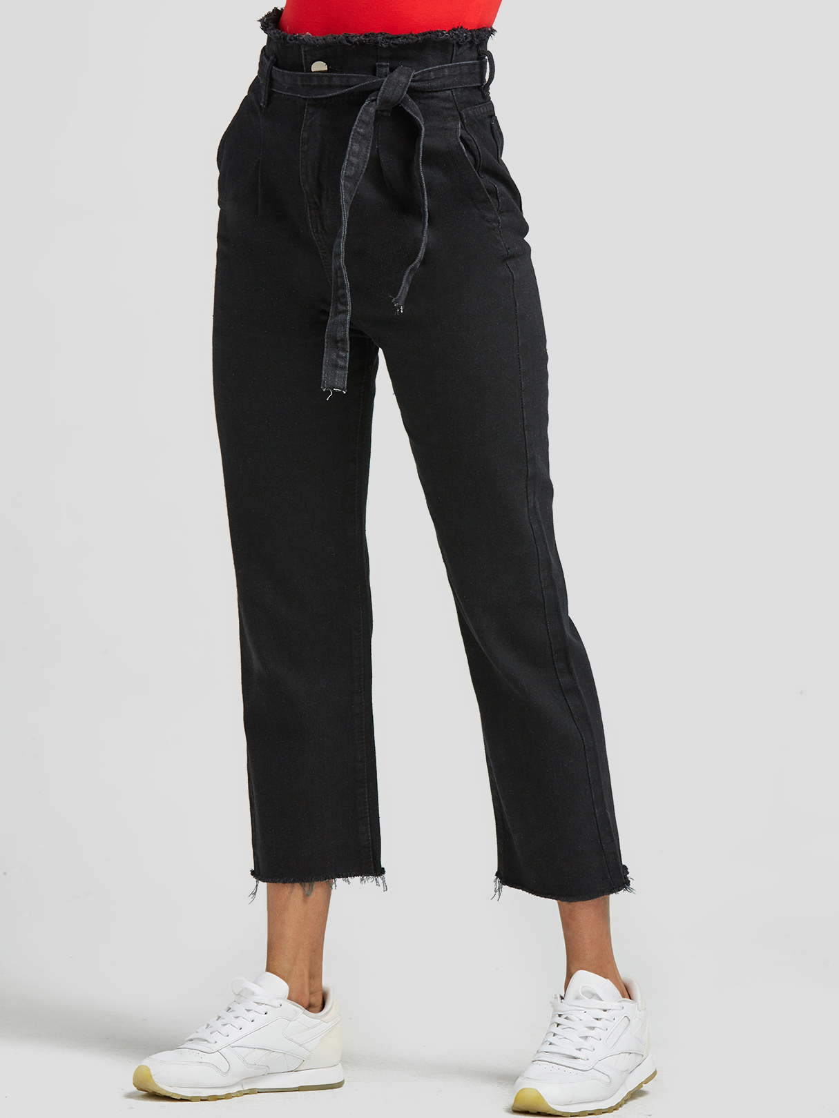 Black High-Waisted Jeans with Belt