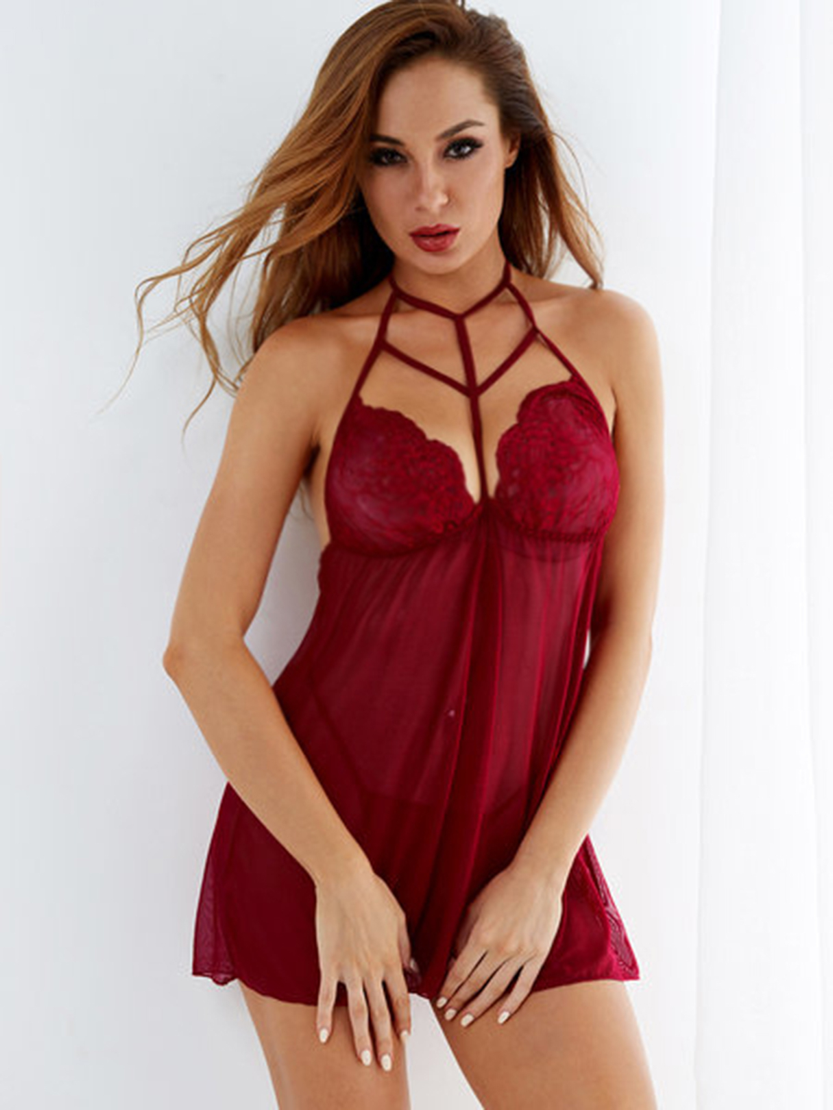 Burgundy Lace Insert Cut Out Low Back Strappy Nightwear with Thong