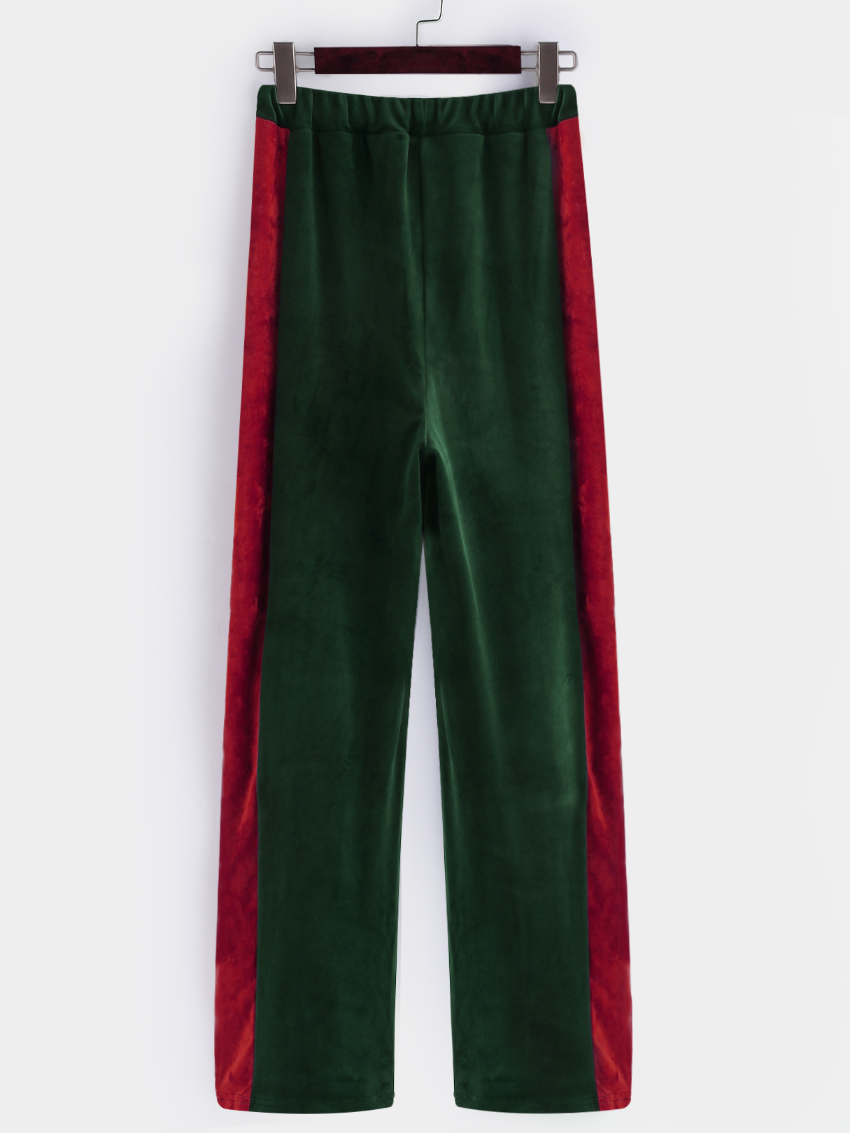 Green Active  Wide Leg Velvet Contract Color Pants
