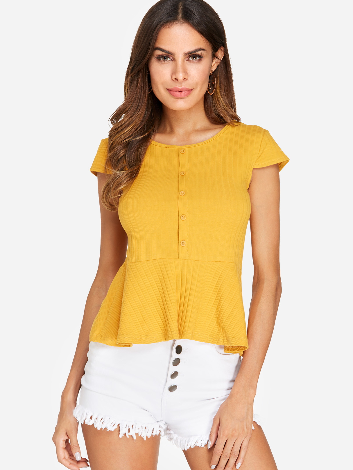 Yellow Button Design Bateau Flounced Hem T-shirts