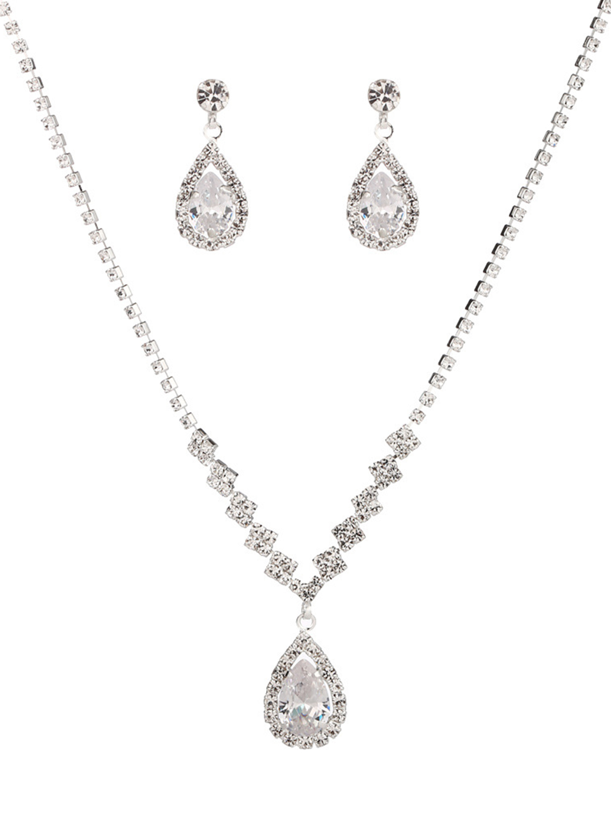 Silver Rhinestones Water Drop Pendant Necklace & Earrings Set