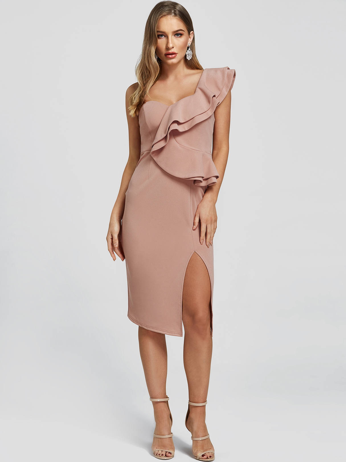 Pink Pleated Design One Shoulder Slit Hem Dress ROBES Rose  s|m|l|xl Yoins