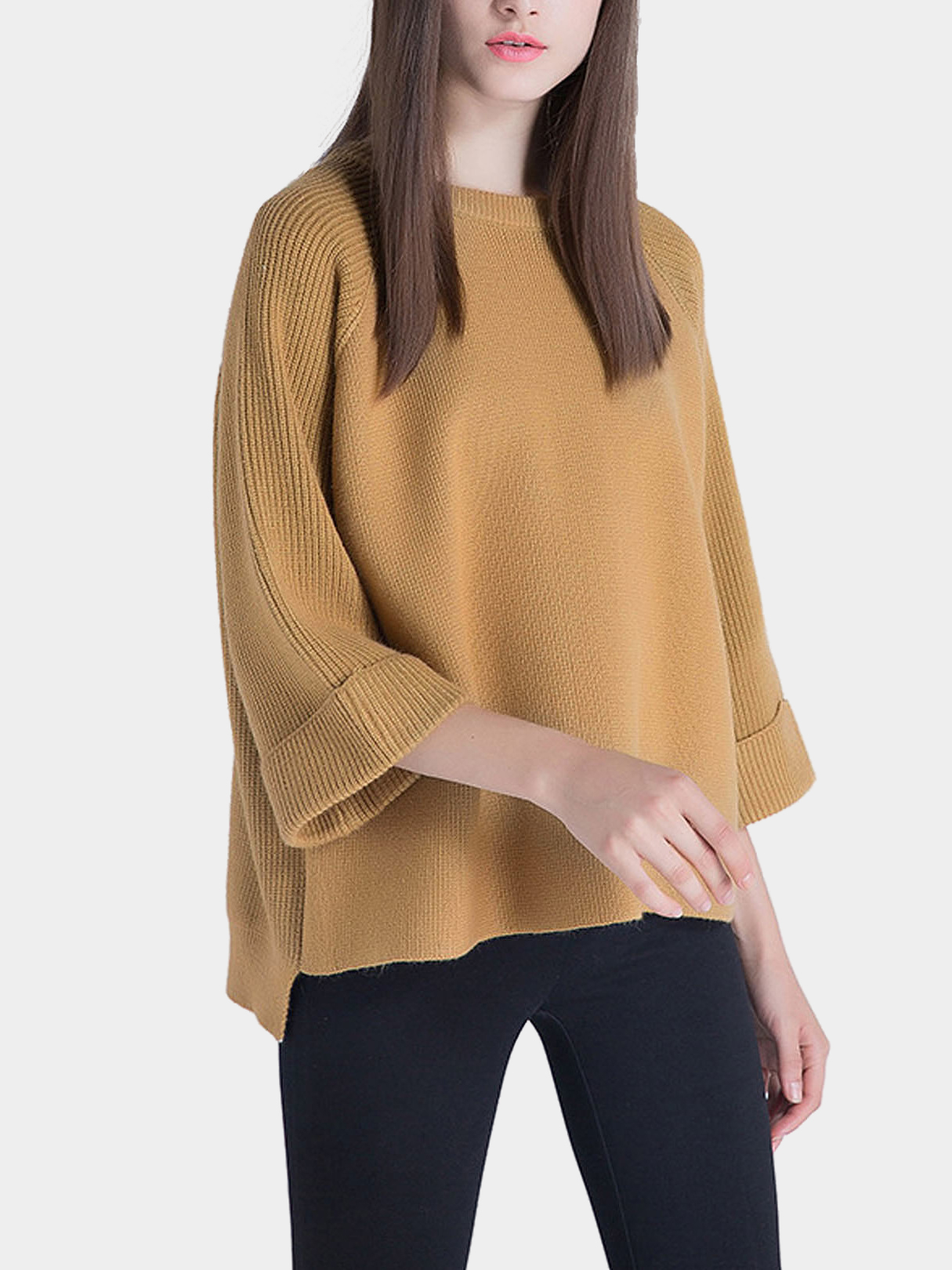 a3ca32debc7f39 3 4 Length Sleeves High-low Hem Knitted Jumper in Light Tan - US ...