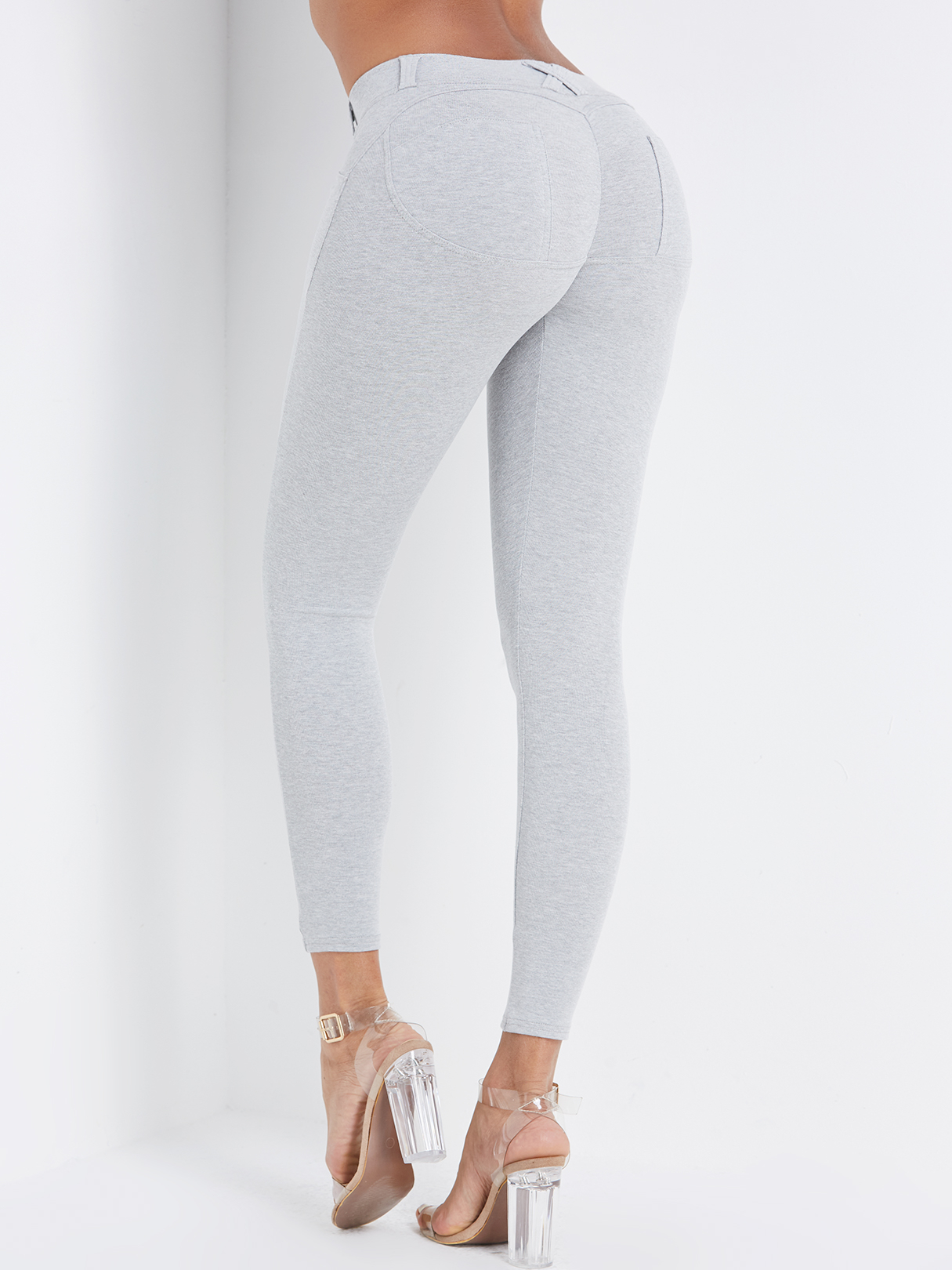 Grey Side Pockets Fashion Bodycon Leggings