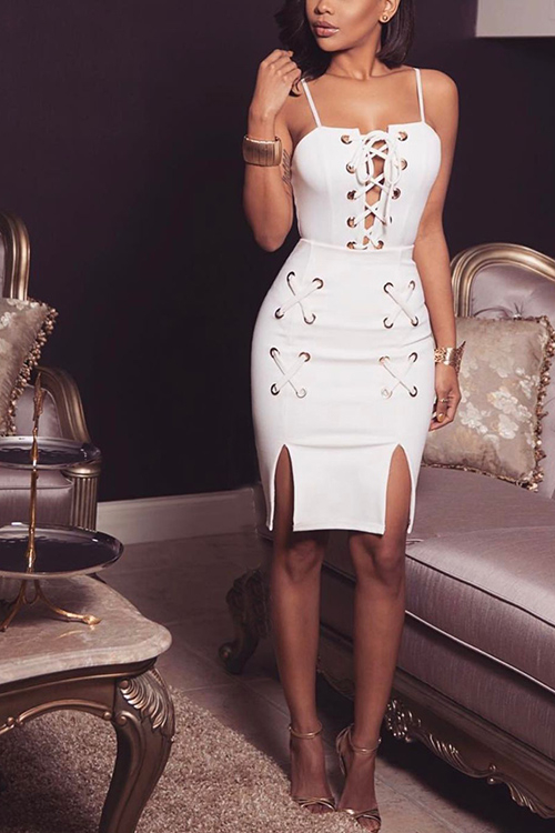 White Sexy Lace-up Design Slit Dress