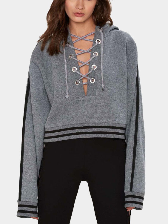 Grey Lace-up Design Thicken Causal Hoodie