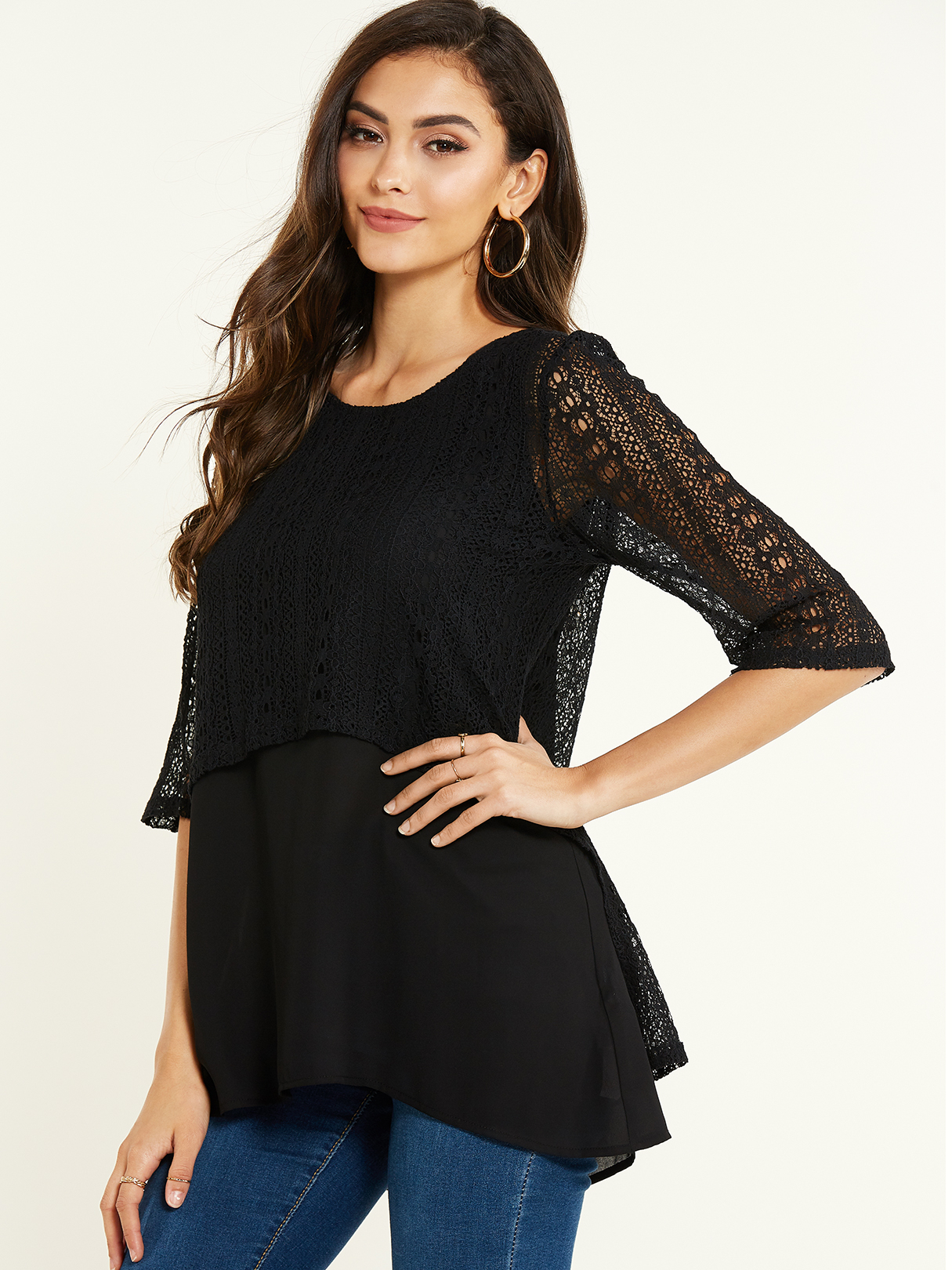 Black Lace Round Neck Half Sleeves Blouse