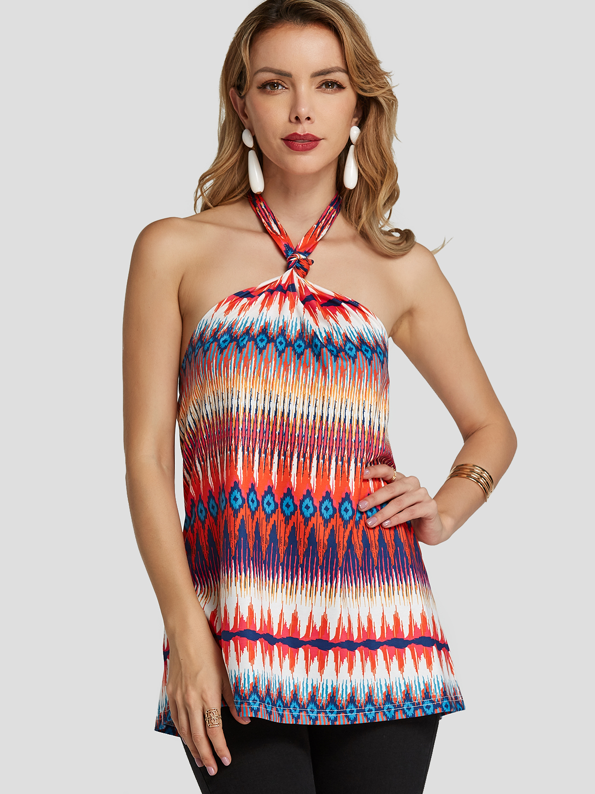 Multi Color Backless Design Geometrical Halter Cami Top