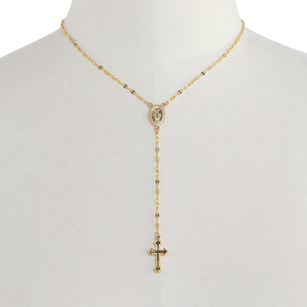 Gold Alloy Crucifix  Pendant Necklace