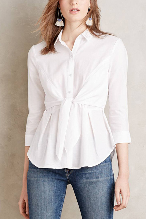 White Easy-matched 3/4 Length Sleeves Shirt