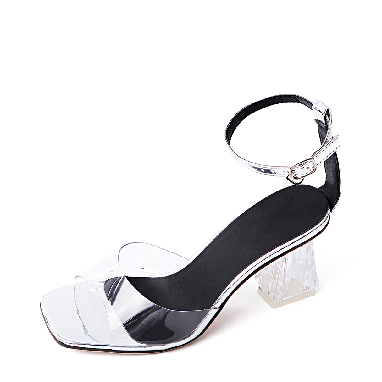 Silver PVC Ankle Strap Chunky Heel Sandals