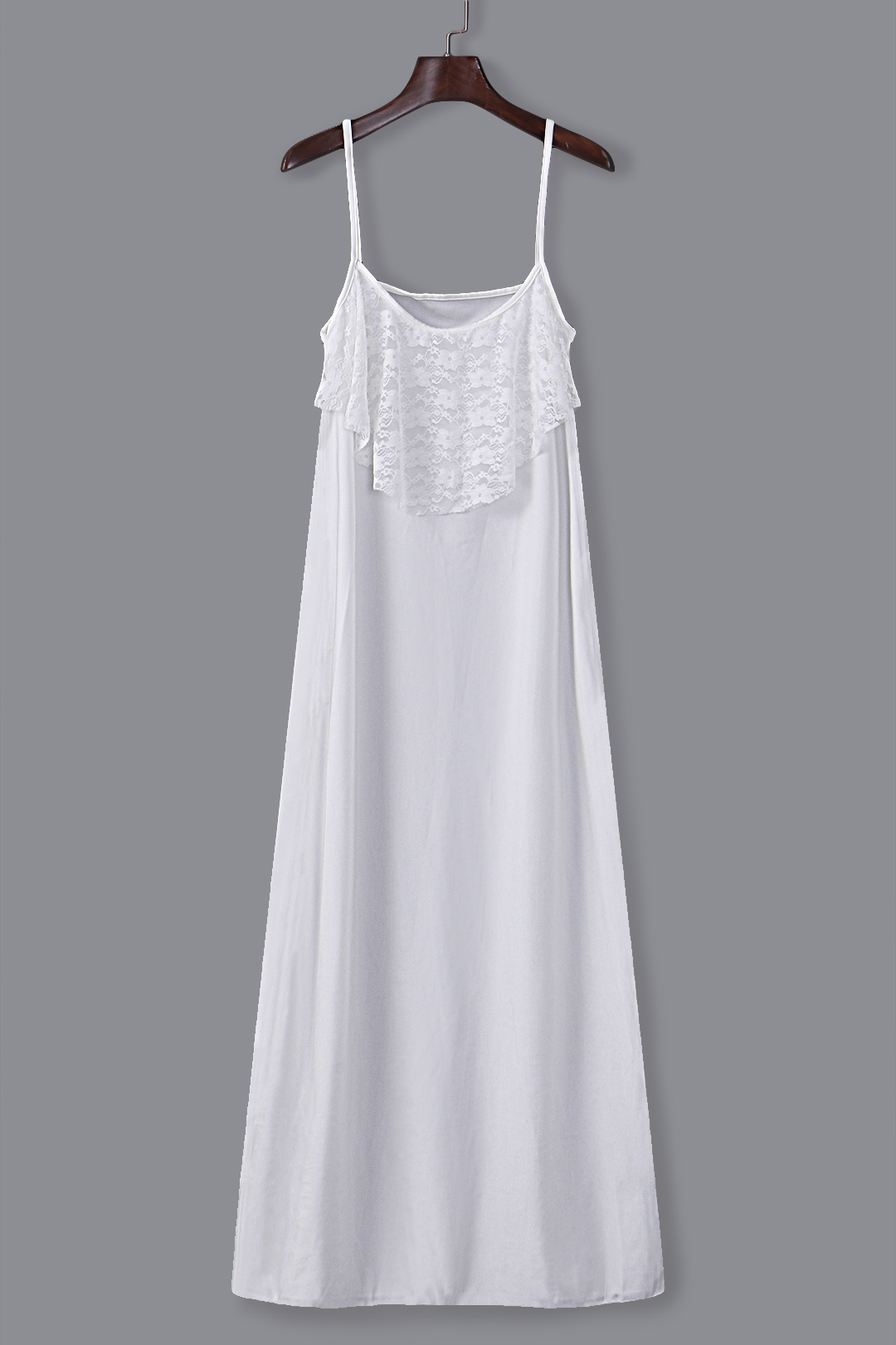 White Lace Trim Maxi Dress with Twin Adjustable Straps