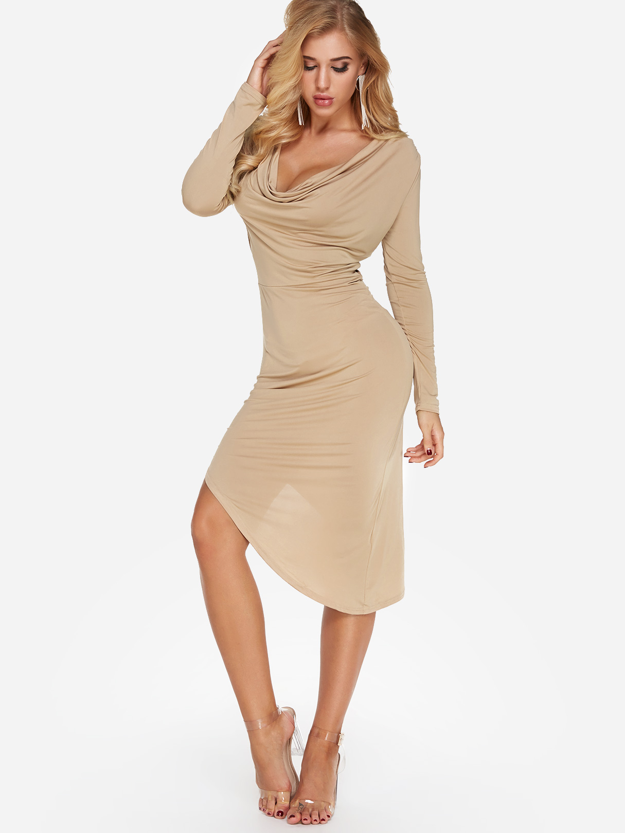 Bilde av Apricot Pleated Design V-Neck Long Sleeves Irregular Hem Dress
