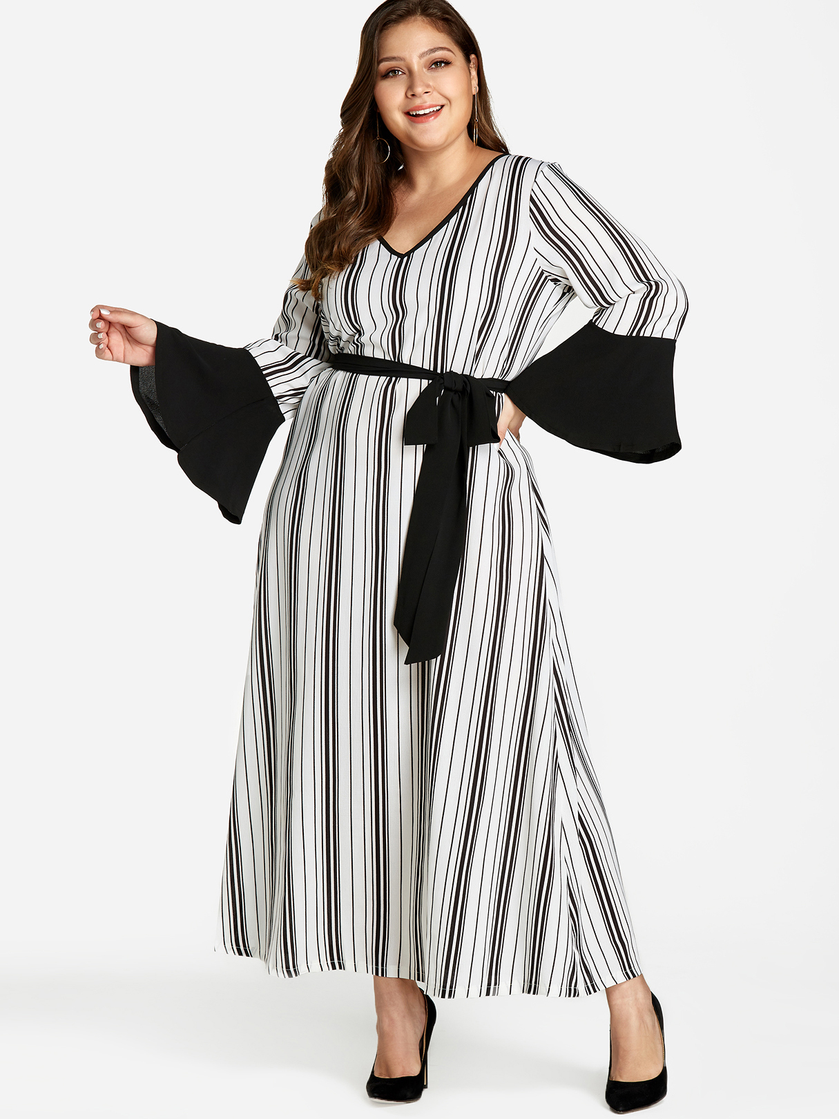 Plus Size Stripe Pattern Self-Tie Maxi Dress, White