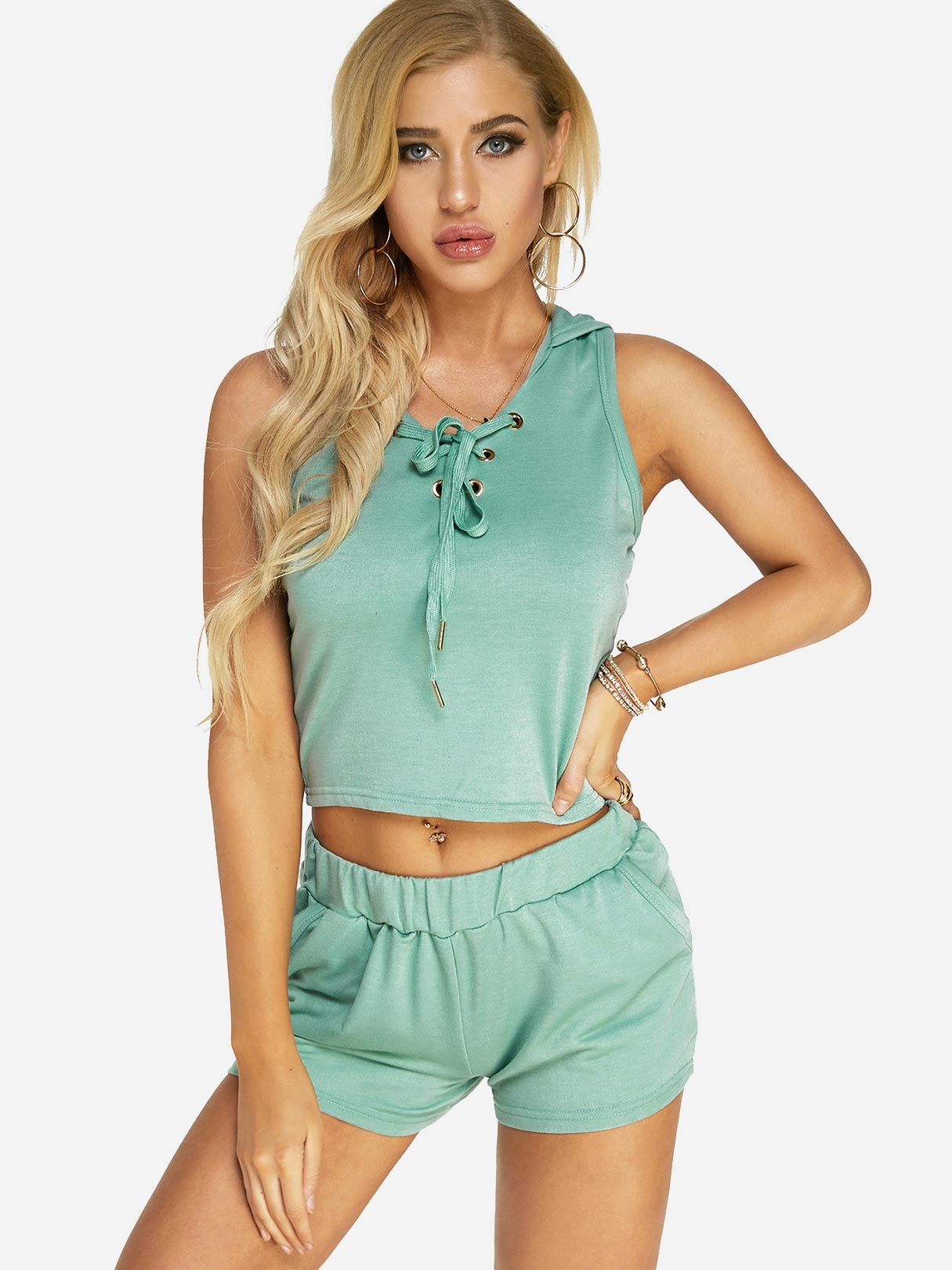 Green Lace-up design Hooded Top and Stretch-waisted Shorts Sports Set