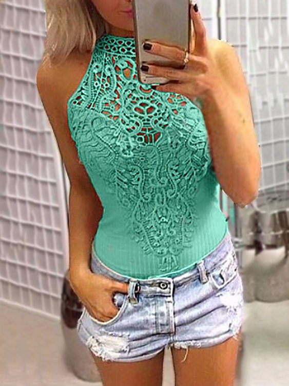 Green Sexy Floral Lace Insert Hollow Out Halter Neck Sleeveless Bodysuit