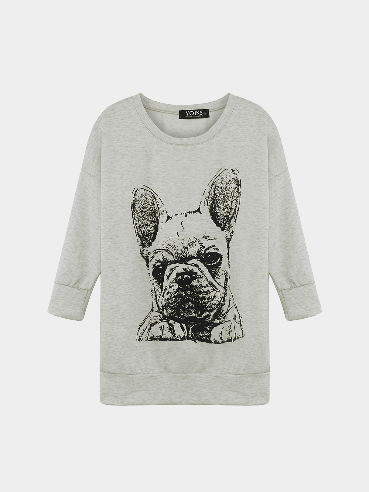 Bulldog Print Sweatshirt in Grey