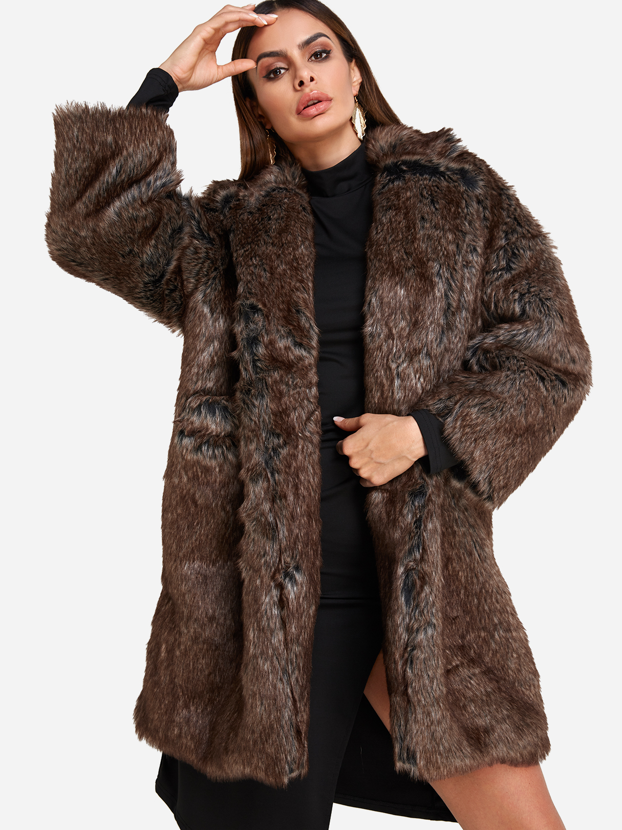 Image of Brown Lapel Collar Longline Faux Fur Coat