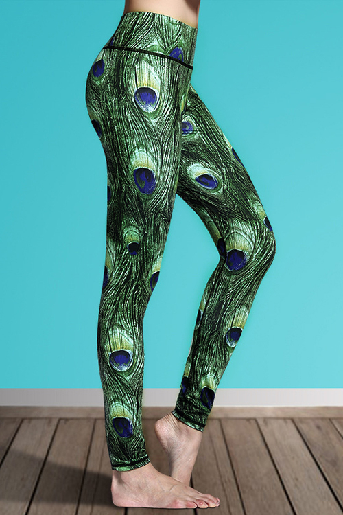 Active Quick Drying Elastic Waist Sports Leggings with Peacock Feather Pattern