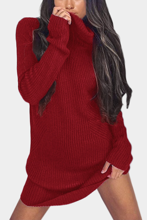 Red High Neck Long Sleeves Knit Casual Dress