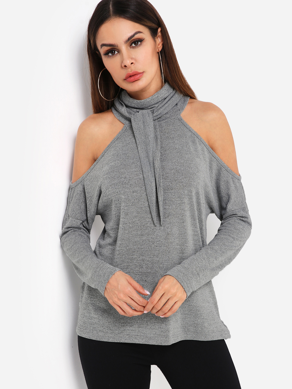 Grey Cold Shoulder Long Sleeves Top With Self-tie Design At Neck