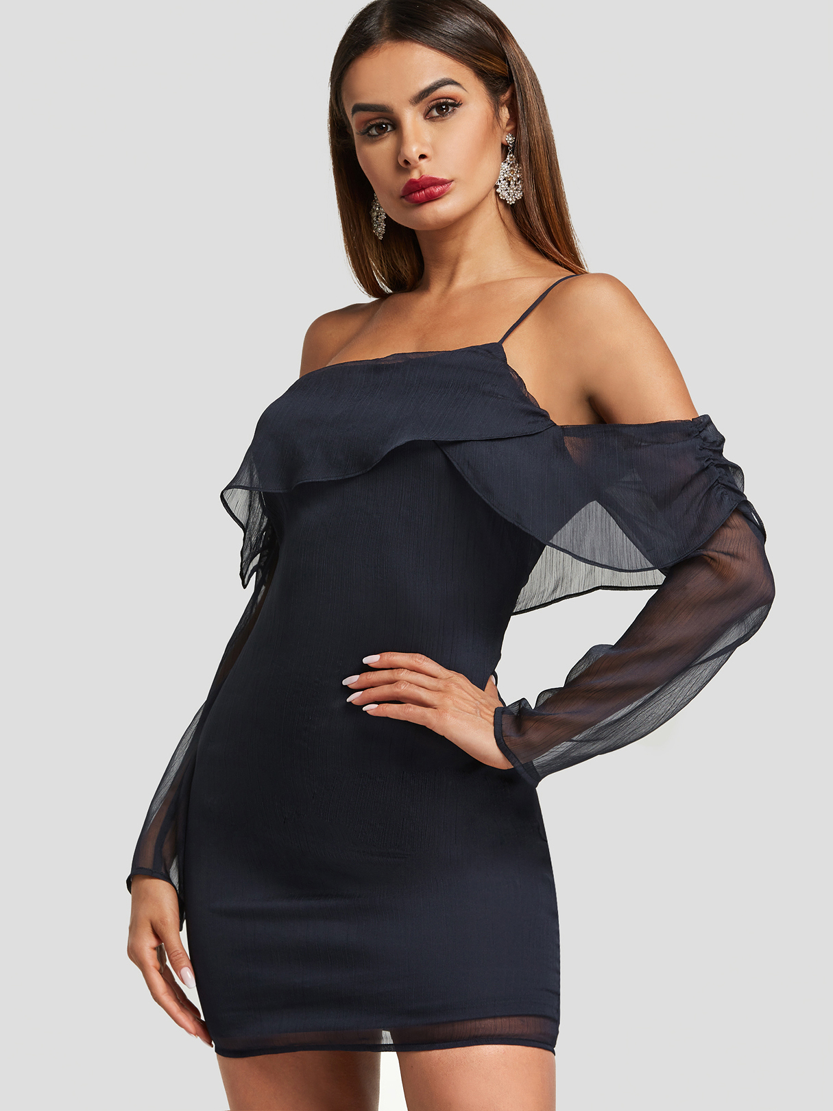 Navy Backless Design Off The Shoulder Mesh Dress