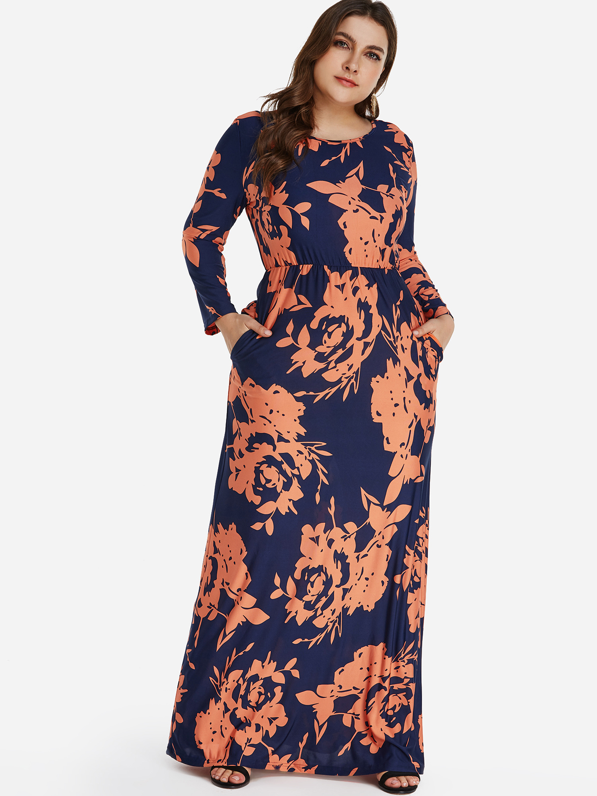 Plus Size Floral Print Pocket Maxi Dress, Multi
