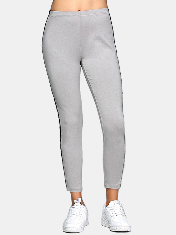 Active Contrast Color Stitching High Waisted Yoga Leggings in Grey