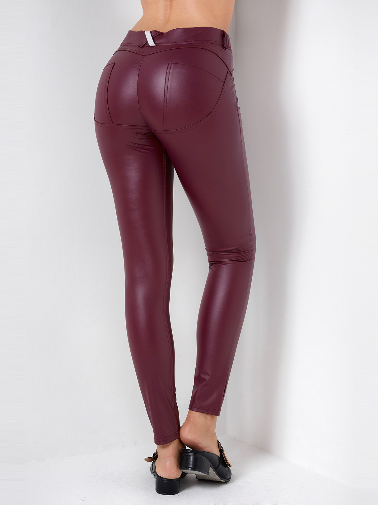 Leggings en cuir moulants à la mode bordeaux BAS Bourgogne Leggings xs|s|m|l Yoins