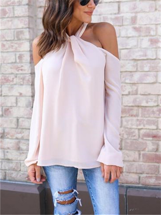 Pink Sexy Halter Neck Back Zip Long Sleeves Chiffon Blouse