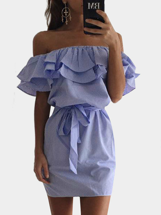 Blue Off Shoulder Stripe Pattern Flouncy Details Dress