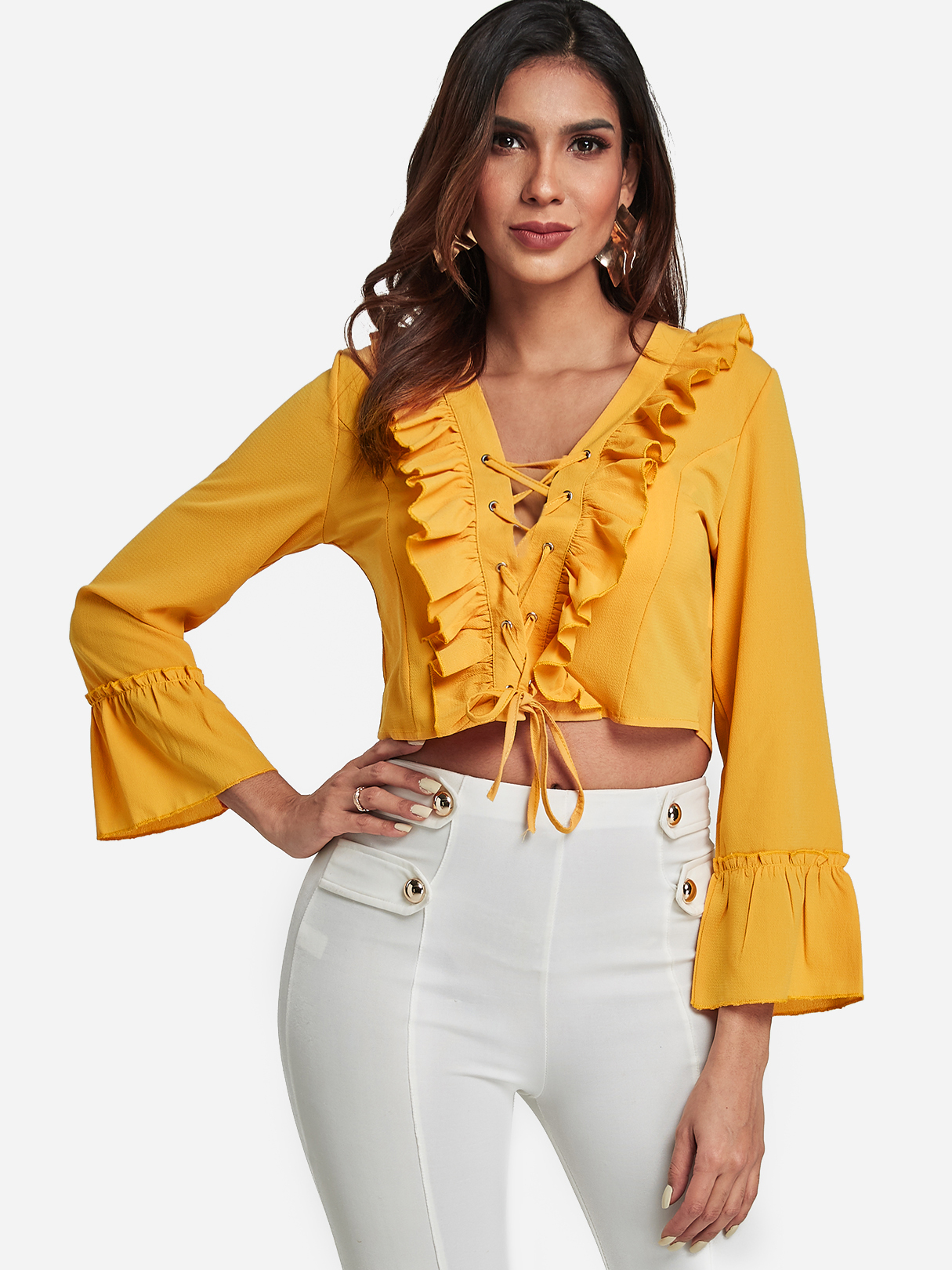 Yellow Lace-up Design V-neck Ruffle Sleeves Blouse
