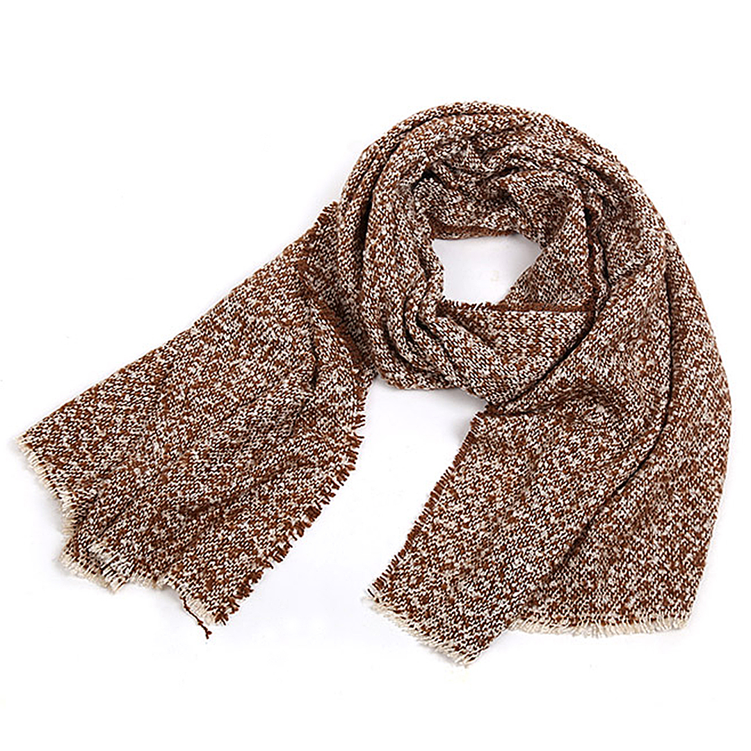 Khaki Oversized Scarf In Boucle Knit